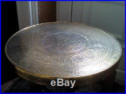 ANTIQUE BRASS TRAY TOP TABLE WITH ARABIC PERSIAN ISLAMIC FOLDING BASE script