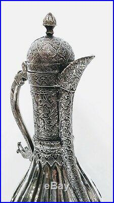 ANTIQUE CENTRAL ASIAN JUG, PROBABLY BUKHARA, ISLAMIC TEXTILE PATTERN, 19th C
