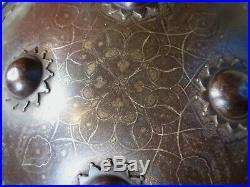 ANTIQUE INDO-PERSIAN STEEL SHIELD KOFTGARI DHAL ISLAMIC ARMOUR no helmet sword