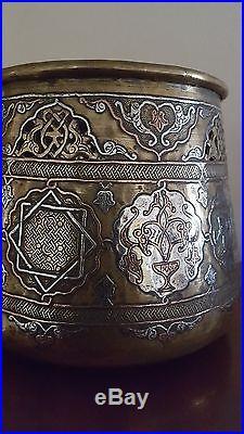Antique Islamic Large Damascus Persian Mumlok Revival Brass&silver Bowl