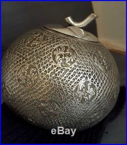 Antique Islamic Malay Riau Indonesia Large Silver Alloy Box Coconut Shape