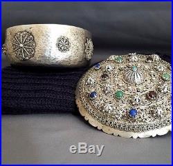 Antique Islamic Persian Ottoman Turkish Solid Silver Fillgree Box Turquoise Lapi