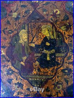 ANTIQUE ISLAMIC PERSIAN QAJAR MIRROR PAPIER MACHE no qalamdan