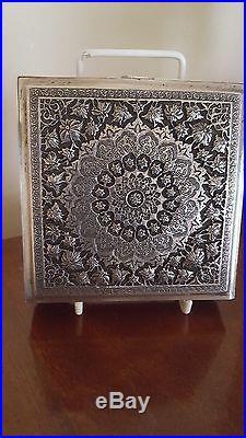Antique Islamic Persian Qajar Ottoman Solid Silver Gilt Square Shap Box 261 Gm