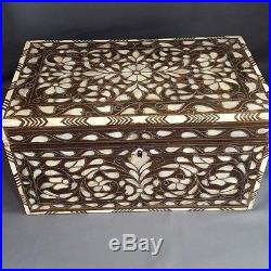 Antique Islamic Persian Syrian Ottoman Damascus Large Wooden Box M. O. P & Silver