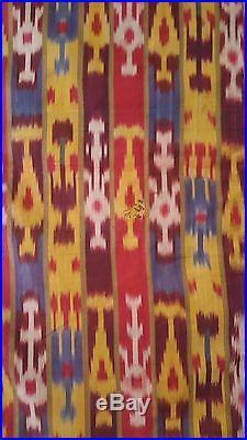 Antique Islamic Uzbekistan Persian Ikat Silk On Silk Fabric Wall Hanging 19th C