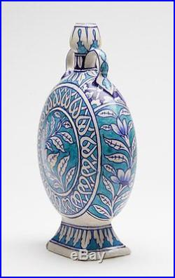 Antique Middle Eastern/indian Blue & White Moon Vase 19th C