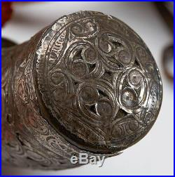 Antique Middle Eastern Silver Mount Powder Flask 18/19th C