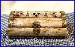 ANTIQUE Middle East CARVED CAMEL BONE & BRASS JEWELRY TRINKET BOX 6'