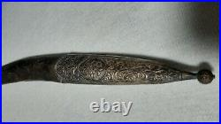ANTIQUE OTTOMAN SWORD 19. C SILVER inlaid SABRE PALA YATAGHAN KILIJ STAMPED