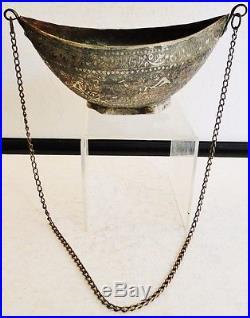 Antique Persian Islamic Beggar's Bowl Dervish Kashkul Tinned Copper Calligraphy