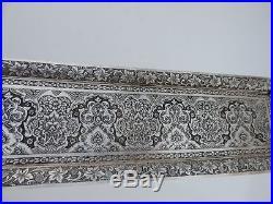 Antique Persian Islamic Qajar Solid Silver Dish Tray W Breathtaking Decoration