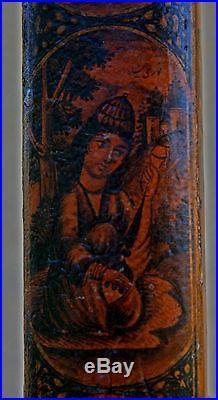 Antique Persian Painted Papier Mache Pen Box Qalamdan Calligraphy Portraits