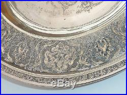Antique Persian Silver Dish Plate 187 Gms