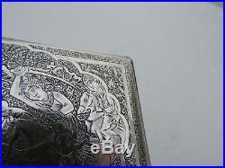 ANTIQUE SIGNED PERSIAN ISLAMIC QAJAR SOLID SILVER CIGARETTE CASE 164 gr 5.8 OZ