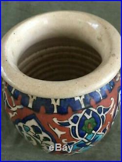 ANTIQUE TURKISH / OTTOMAN Polychrome IZNIK POTTERY VASE Persian