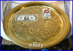 ANTIQUE VINTAGE Middle East Oriental Engraved Solid BRASS Coffee TABLE Tray 18'