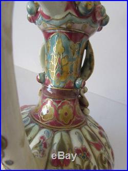 Antique Zsolnay Pecs Hungary Persian / Iznik Style Jug / Ewer