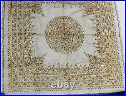 ANTIQUE19th C. TURKISH OTTOMAN EMBROIDERD COVERLET COUCHED GOLD THREAD WORK