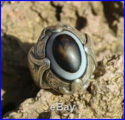 Afghan Old Vintage Tibet Dzi Eye Bead Antique Silver Gold Plated Ring Size 11 US
