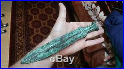 Amazing Ancient Unearthed Original Islamic Persian Bronze KNIFE 17-19th Century