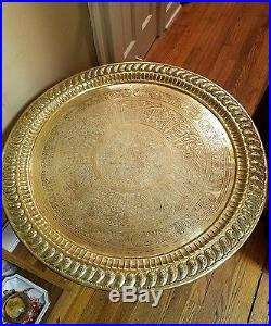 Amazing Large Antique Cairo Middle Eastern Brass Table 31 1/4 diam. Camel Legs