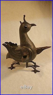 Ancient BRONZE SILVER & COPPER INLAY 3 Wick OIL LAMP Persian Seljuk Khurasan