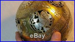 Ancient BRONZE w SILVER & COPPER Inlay SPHERE BALL storage Keepsake Seljuk 1of 2