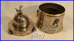 Ancient BRONZE with SILVER & COPPER Inlay Bird Topped Dome Jewelry Keepsake