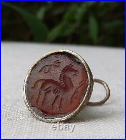 Ancient Carnelian Sasanian Seals Pre Islamic Later Mounted on 19thC Persian Fobs
