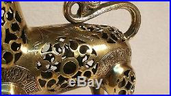 Ancient Original BRONZE with SILVER & COPPER Inlay 2 wick LION OIL LAMP