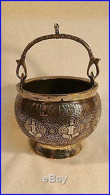 Ancient Original BRONZE with SILVER & COPPER Inlay Large Cauldron with Handle