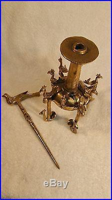 Ancient Original Bronze 13 birds Perfume Holder Bottle 17-19th Century 13