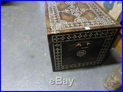 Anglo persian mother of pearl inlay trunk