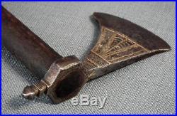 Antique 17th 18 century Indo Persian Central Asian Islamic Saddle Axe to sword
