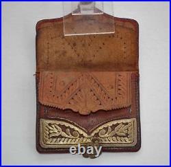 Antique 18 Century Islamic Turkish Ottoman Wallet Embroidered Gold Gilt Silver