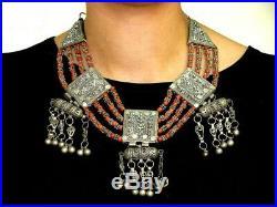 Antique 1800 Century Yemenite Silver Coral Necklace
