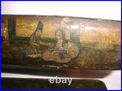 Antique 1800`s Qajar Arabic Islamic Qalamdan Pen Box Lacquer Paper Mache