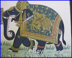 Antique 18th C. Persian Hand-Painted Sheet & Indian Gold-Leaf Elephant