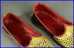 = Antique 1900's Slippers Gold Embroidered Leather Curled Toe Ottoman Moorish