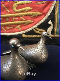 Antique 19th C Islamic Ghajare Persian Solid Silver Pr Pigeon Bird & Turqvise