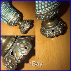 Antique 19th C Islamic Ottoman Persian Solid Silver Bronze & Turquoise Ruby Cup