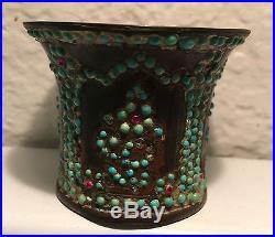 Antique 19th C. Qajar Brass Hookah Cup with Gemstones