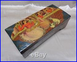 Antique 19th C. Qajar Lacquer Persian Box Hand Painted Lovers