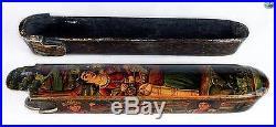 Antique 19th C. Qajar Persian Polychrome Lacquer Papier Mache Scribe Box Qalamdan