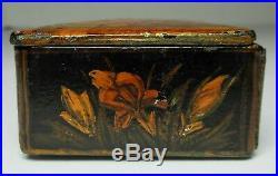 Antique 19th Century PERSIAN PAPER MACHE LACQUER BOX Hand Paint WOMEN MEN BIRDS