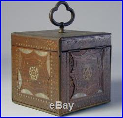 Antique 19th Century Wood, Brass, MOP, and Glass Tea Caddy. English or Persian