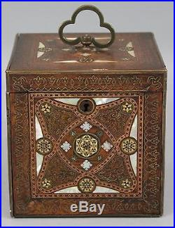 Antique 19thC Finely Inlaid MOP, Brass & Copper, Persian Export Tea Caddy Box