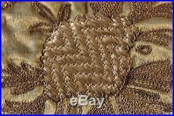 Antique 19thC Middle Eastern/Arab/Persian Hand Emb Gold Metallic On Silk Panel