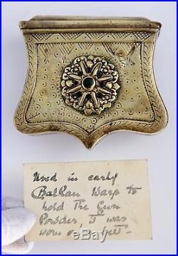 Antique 19thC Ottoman Islamic Turkish Palaska Musket Cartridge Box Sword Dagger